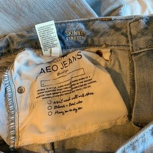 American Eagle light wash ripped jeans.